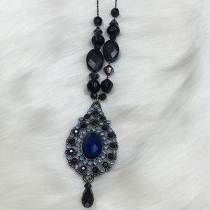 Victorian Inspired Blue Galaxy Bead Necklace